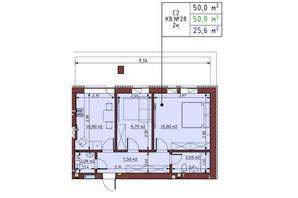 ЖК Гостомельские Липки 5: планировка 2-комнатной квартиры 50 м²