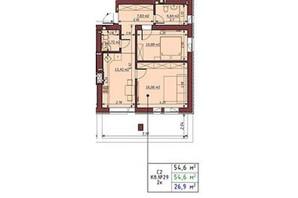 ЖК Гостомельские Липки 5: планировка 2-комнатной квартиры 54.6 м²