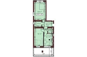 ЖК Гостомельские Липки 5: планировка 2-комнатной квартиры 62.3 м²