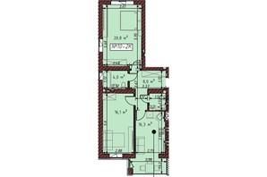 ЖК Гостомельские Липки 5: планировка 2-комнатной квартиры 67.7 м²