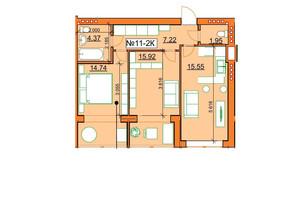 ЖК Гостомельские Липки 5: планировка 2-комнатной квартиры 59.75 м²