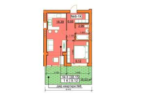 ЖК Гостомельские Липки 5: планировка 1-комнатной квартиры 38.15 м²