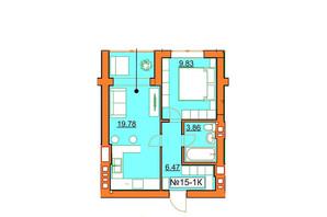 ЖК Гостомельские Липки 5: планировка 1-комнатной квартиры 40.12 м²