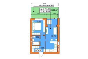 ЖК Гостомельские Липки 5: планировка 1-комнатной квартиры 39.94 м²