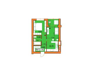 ЖК Гостомельские Липки 5: планировка 1-комнатной квартиры 40.09 м²
