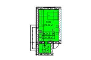 ЖК Гостомельские Липки 5: планировка 1-комнатной квартиры 24.24 м²