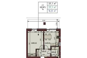 ЖК Гостомельские Липки 5: планировка 1-комнатной квартиры 37.1 м²