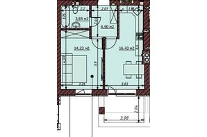 ЖК Гостомельские Липки 5: планировка 1-комнатной квартиры 39.4 м²