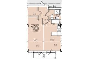 ЖК Graf на Катерининській: планування 1-кімнатної квартири 41.66 м²