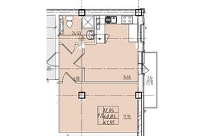 ЖК Graf на Катерининській: планування 1-кімнатної квартири 41.95 м²