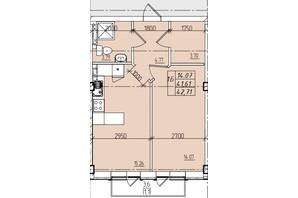ЖК Graf на Катерининській: планування 1-кімнатної квартири 42.71 м²