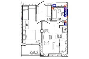 ЖК Graf  на Педагогічній: планування 1-кімнатної квартири 43.06 м²