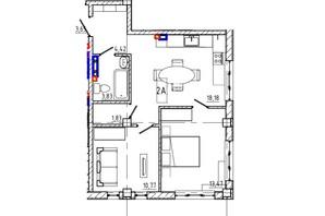 ЖК Graf  на Педагогічній: планування 2-кімнатної квартири 50.4 м²