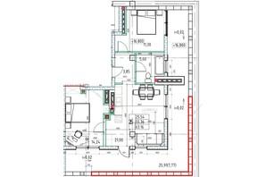 ЖК Graf  на Педагогічній: планування 2-кімнатної квартири 62.05 м²