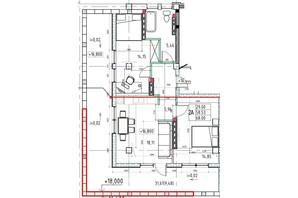 ЖК Graf  на Педагогічній: планування 2-кімнатної квартири 71.11 м²