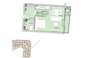 ЖК Graf у моря: планування 1-кімнатної квартири 35.97 м²