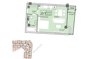 ЖК Graf у моря: планування 1-кімнатної квартири 33.41 м²