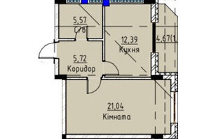 ЖК Графіт: планування 1-кімнатної квартири 46.13 м²