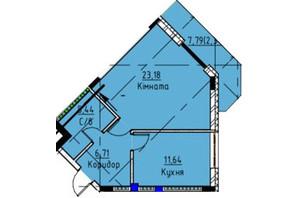 ЖК Графіт: планування 1-кімнатної квартири 49.3 м²