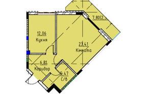 ЖК Графіт: планування 1-кімнатної квартири 50.09 м²