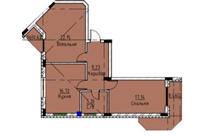 ЖК Графіт: планування 2-кімнатної квартири 73.5 м²