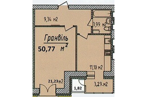 ЖК Графский: планировка 1-комнатной квартиры 50.77 м²