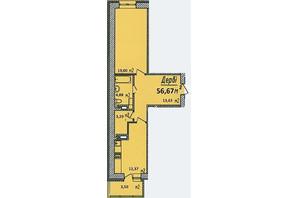 ЖК Графский: планировка 1-комнатной квартиры 56.67 м²