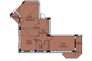 ЖК Графит: планировка 2-комнатной квартиры 73.5 м²