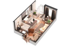ЖК Гранд Бурже: планування 1-кімнатної квартири 29.94 м²