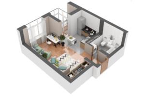 ЖК Гранд Бурже: планування 1-кімнатної квартири 36.84 м²