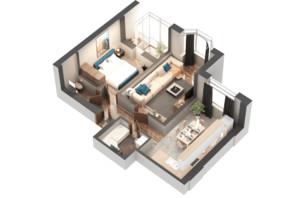 ЖК Гранд Бурже: планировка 2-комнатной квартиры 59.16 м²