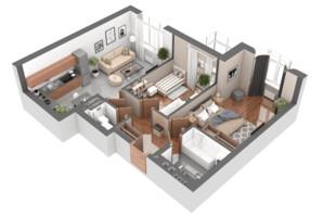 ЖК Гранд Бурже: планировка 2-комнатной квартиры 65.07 м²