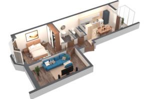 ЖК Гранд Бурже: планировка 2-комнатной квартиры 58.2 м²