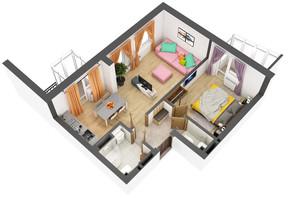 ЖК Гранд Бурже: планировка 2-комнатной квартиры 48.9 м²