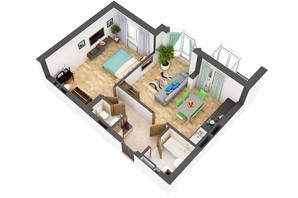 ЖК Гранд Бурже: планировка 2-комнатной квартиры 54.9 м²
