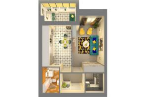 ЖК Grand City Dombrovskyi: планировка 1-комнатной квартиры 46.33 м²