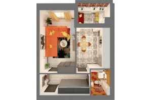 ЖК Grand City Dombrovskyi: планировка 1-комнатной квартиры 45.54 м²