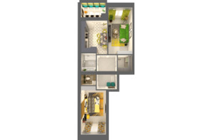 ЖК Grand City Dombrovskyi: планировка 2-комнатной квартиры 66.27 м²