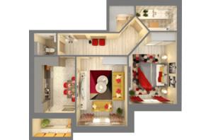 ЖК Grand City Dombrovskyi: планировка 2-комнатной квартиры 68.29 м²