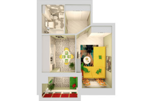 ЖК Grand City Dombrovskyi: планировка 1-комнатной квартиры 41.99 м²