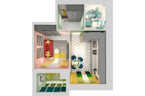 ЖК Grand City Dombrovskyi: планировка 1-комнатной квартиры 43.27 м²