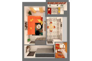 ЖК Grand City Dombrovskyi: планировка 1-комнатной квартиры 43.37 м²