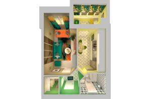 ЖК Grand City Dombrovskyi: планировка 1-комнатной квартиры 40.61 м²