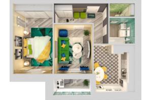 ЖК Grand City Dombrovskyi: планировка 2-комнатной квартиры 57.47 м²