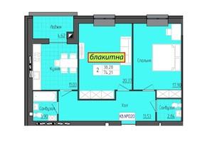 ЖК Grand City Dombrovskyi: планировка 2-комнатной квартиры 74.21 м²