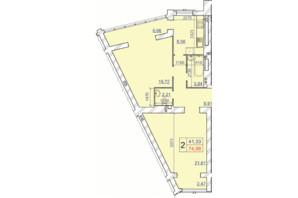 ЖК Grand Royal: планування 2-кімнатної квартири 74.98 м²