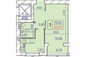 ЖК Grand Royal: планування 1-кімнатної квартири 33.7 м²