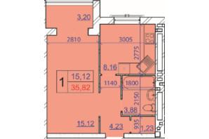 ЖК Grand Royal: планування 1-кімнатної квартири 35.82 м²