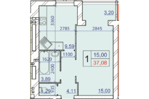 ЖК Grand Royal: планування 1-кімнатної квартири 37.08 м²