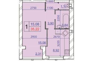 ЖК Grand Royal: планування 1-кімнатної квартири 35.22 м²
